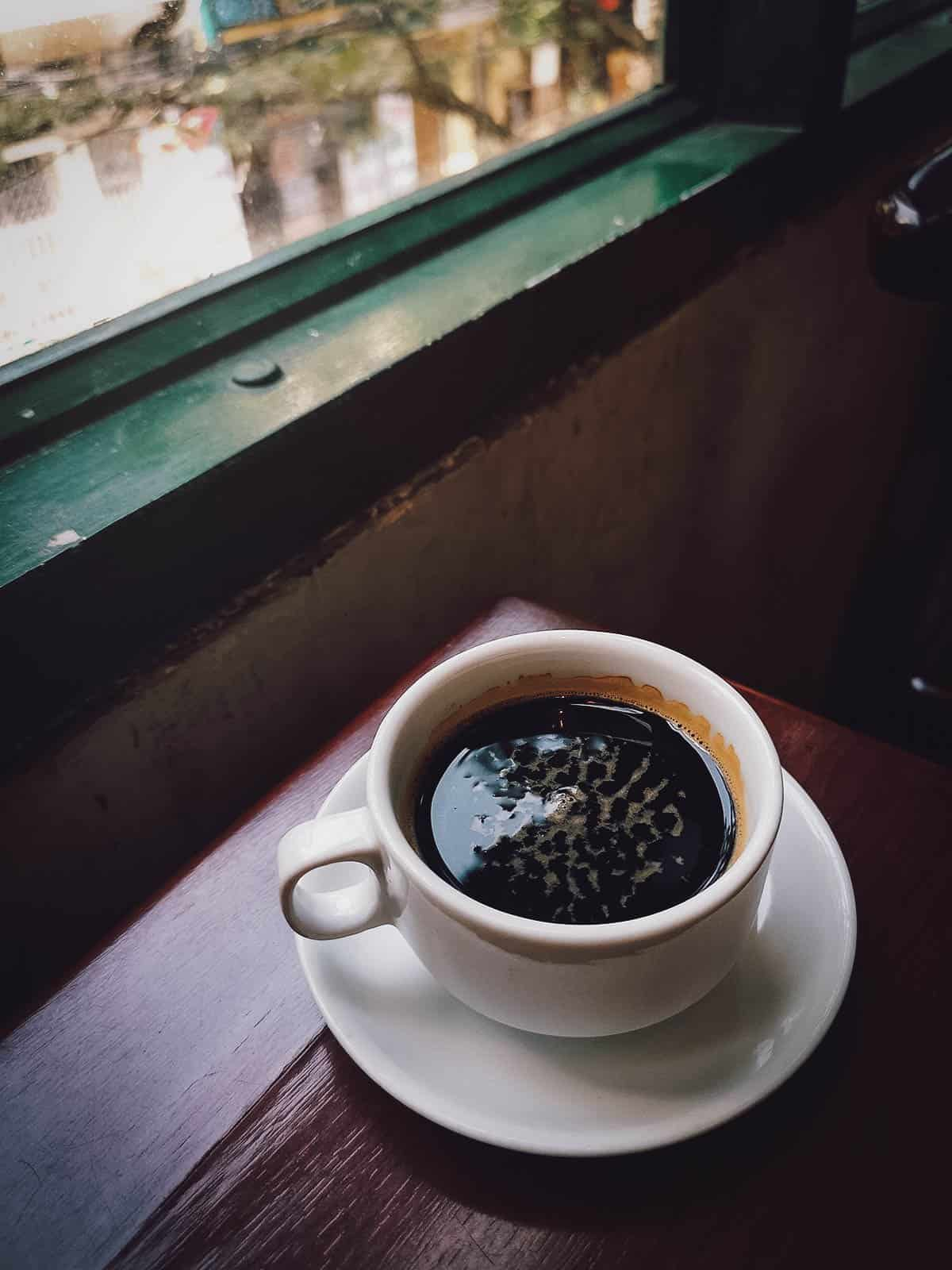 Black coffee at Cafe Nola