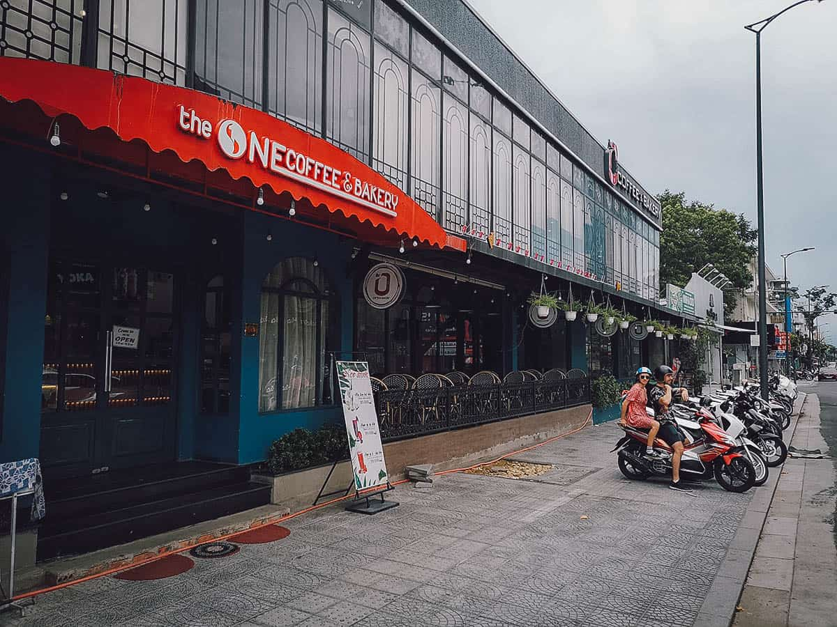 Exterior of The One Coffee & Bakery in Hue, Vietnam