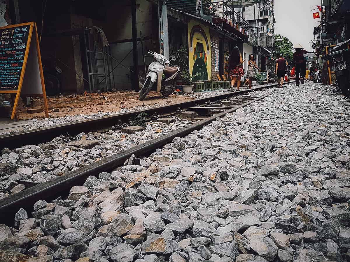 Train tracks in Hanoi, Vietnam