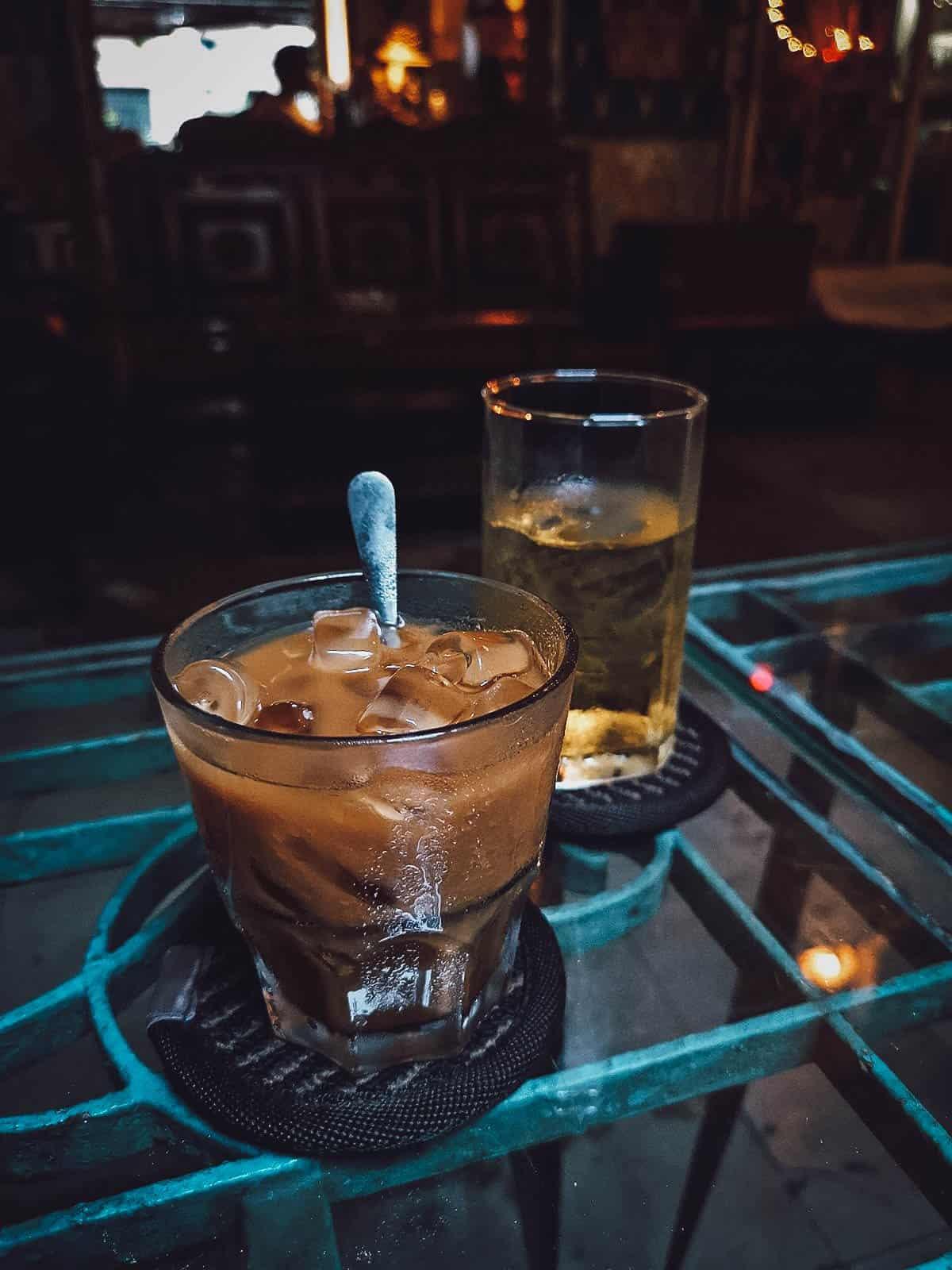 Milk coffee at Hoang Thi Cafe