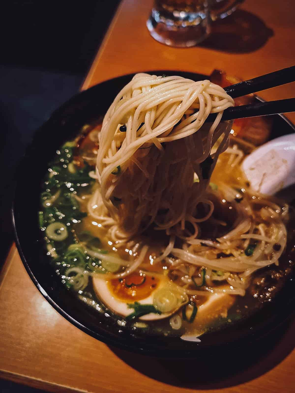 Hakata ramen at Shodai Hide-chan in Fukuoka
