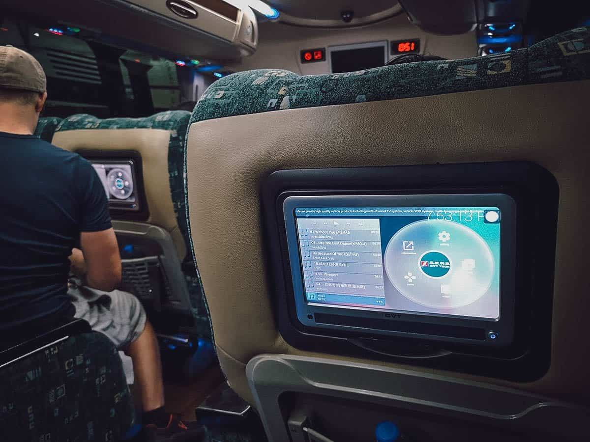 Interior of bus to Bagan, Myanmar