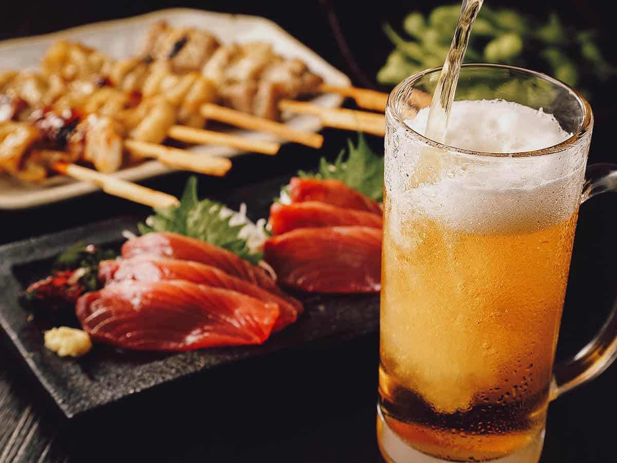 Beer and Japanese food