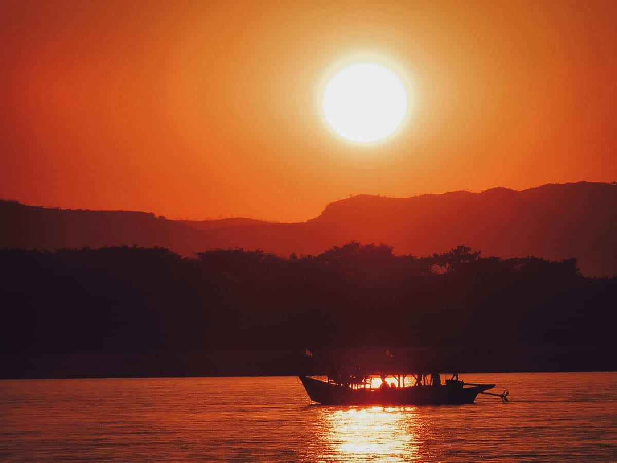 Sunset on the Irrawaddy River in Bagan, Myanmar