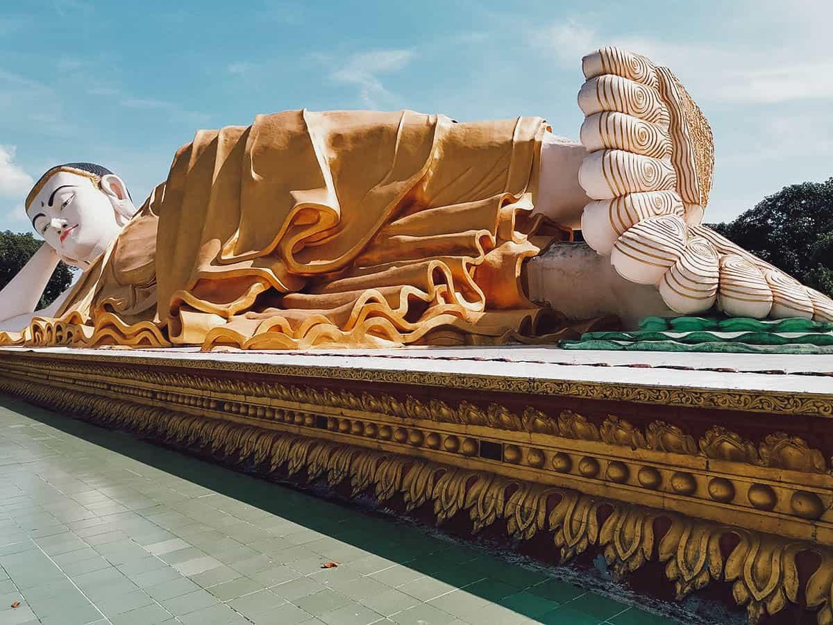 Giant reclining Buddha in Bago, Myanmar