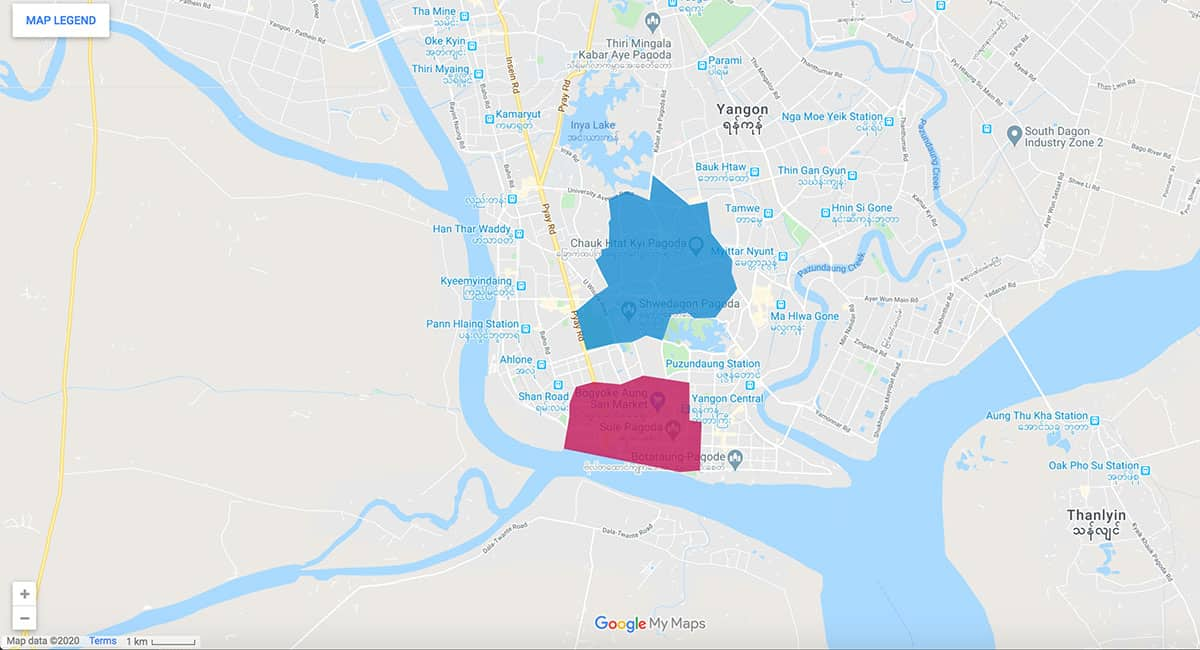Yangon area map