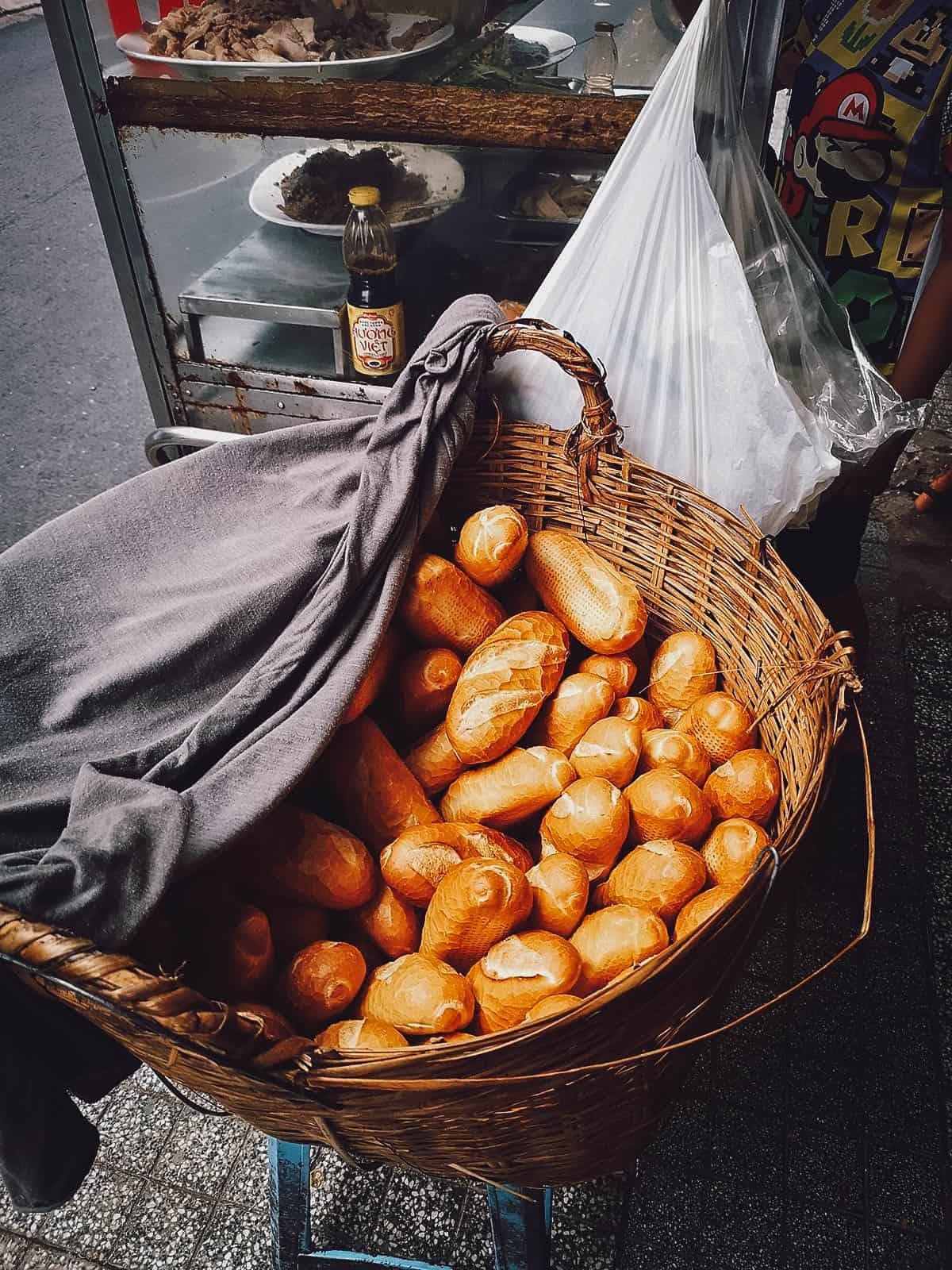 Basket of banh mi at Banh Mi Bay Ho