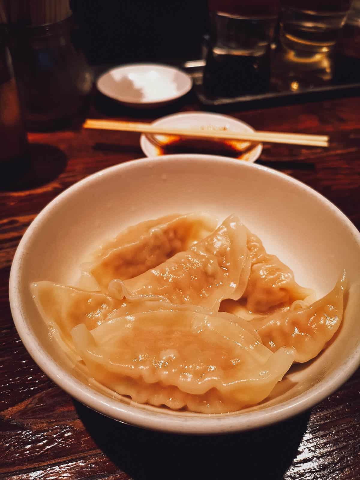 Steamed gyoza at Harajuku Gyoza Lou in Tokyo, Japan