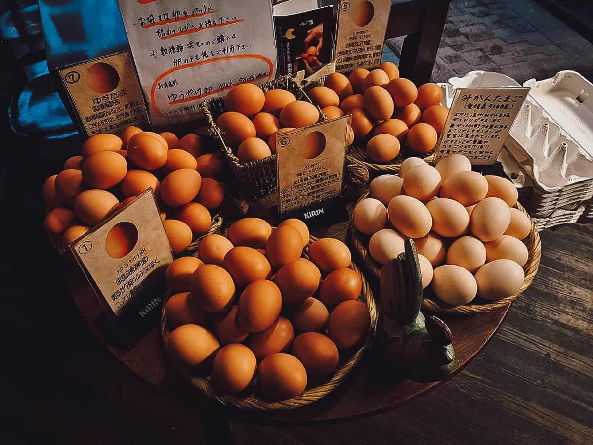 Different types of eggs at Kisaburo Nojo in Tokyo, Japan