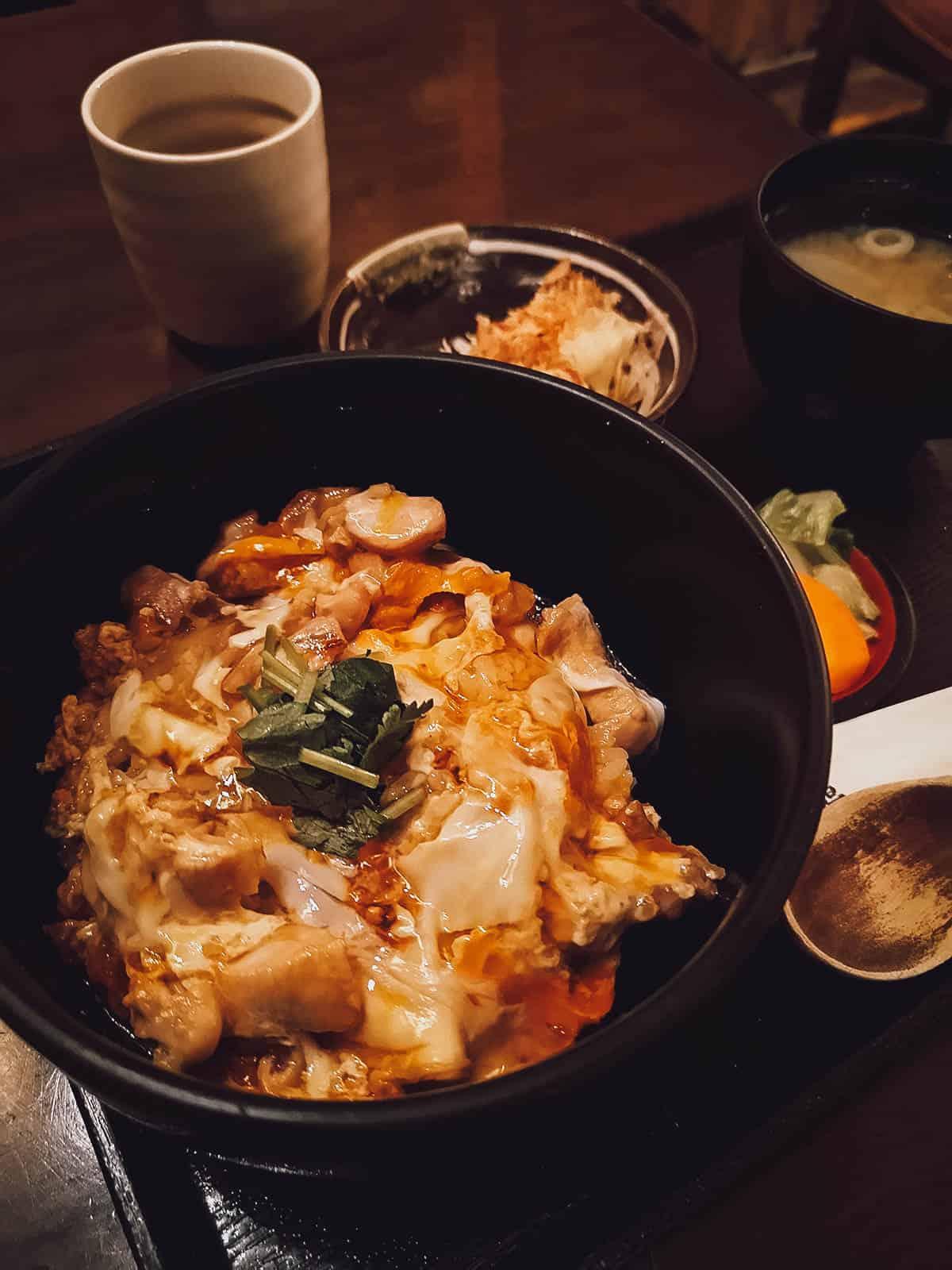 Tamago kake gohan with chicken at Kisaburo Nojo in Tokyo, Japan