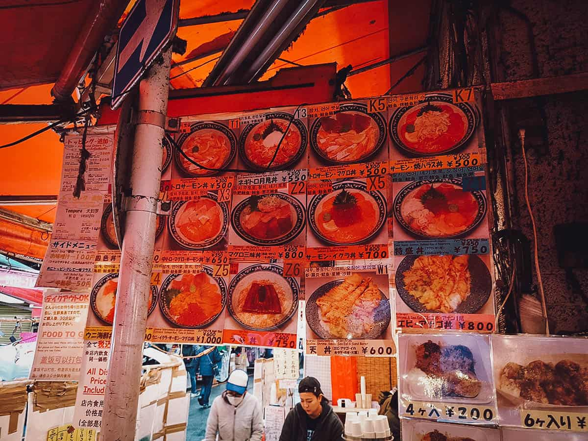 Menu at Minatoya in Tokyo, Japan