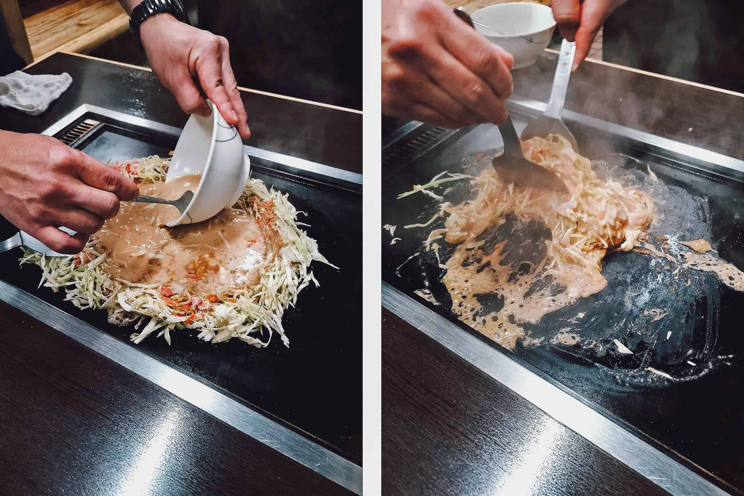 Making monjayaki at 好美家 in Tokyo, Japan