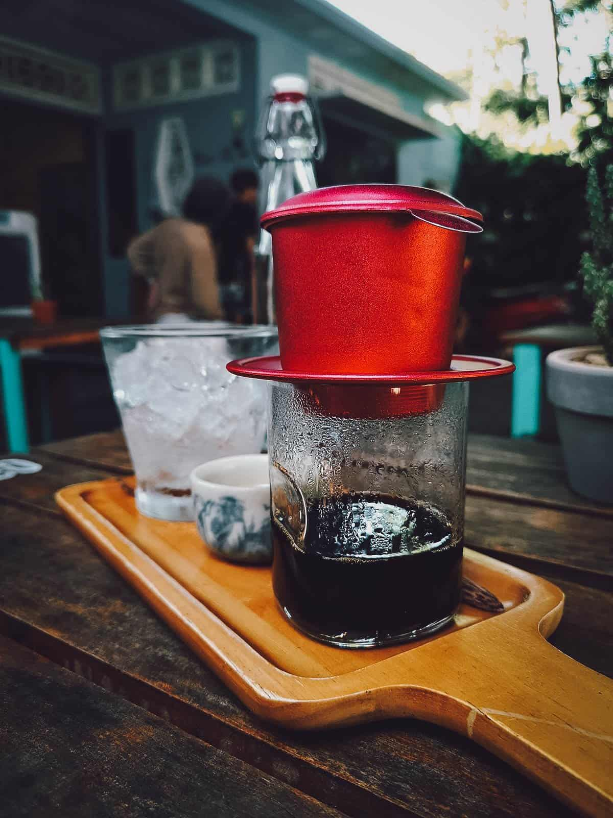 Drip coffee at Phin Coffee in Hoi An, Vietnam