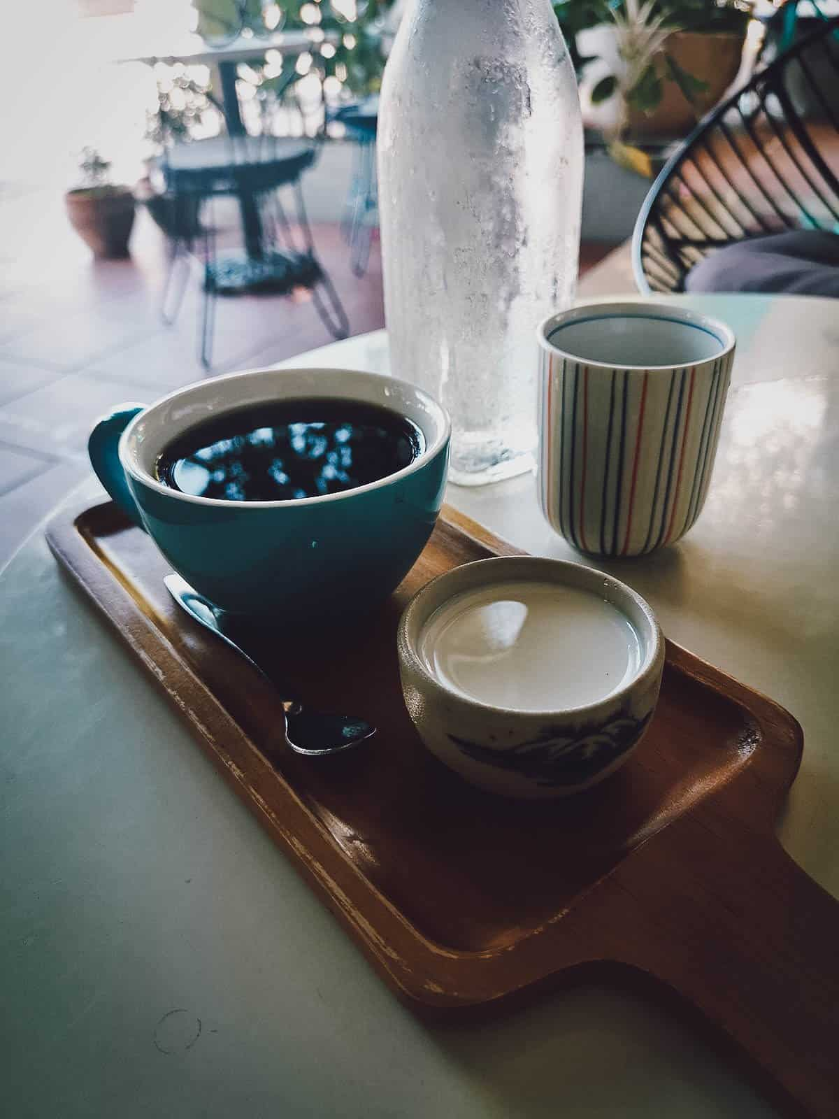 Black coffee at Phin Coffee in Hoi An, Vietnam