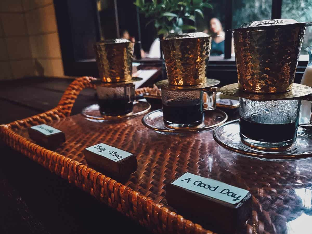 Coffee tasting set at Reaching Out Tea House in Hoi An, Vietnam