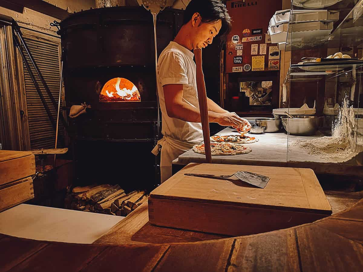 Making pizza at Savoy in Tokyo, Japan