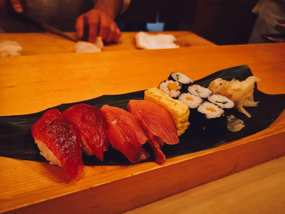 Lunch sushi set at Sushi Katsura in Tokyo, Japan
