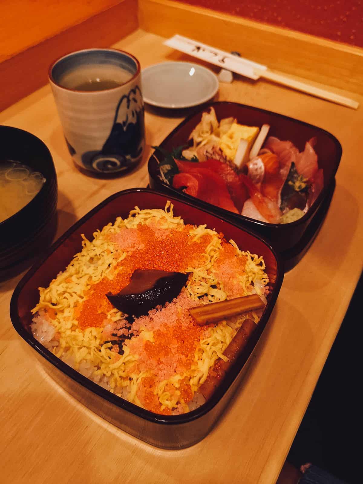 Chirashi set at Sushi Katsura in Tokyo, Japan