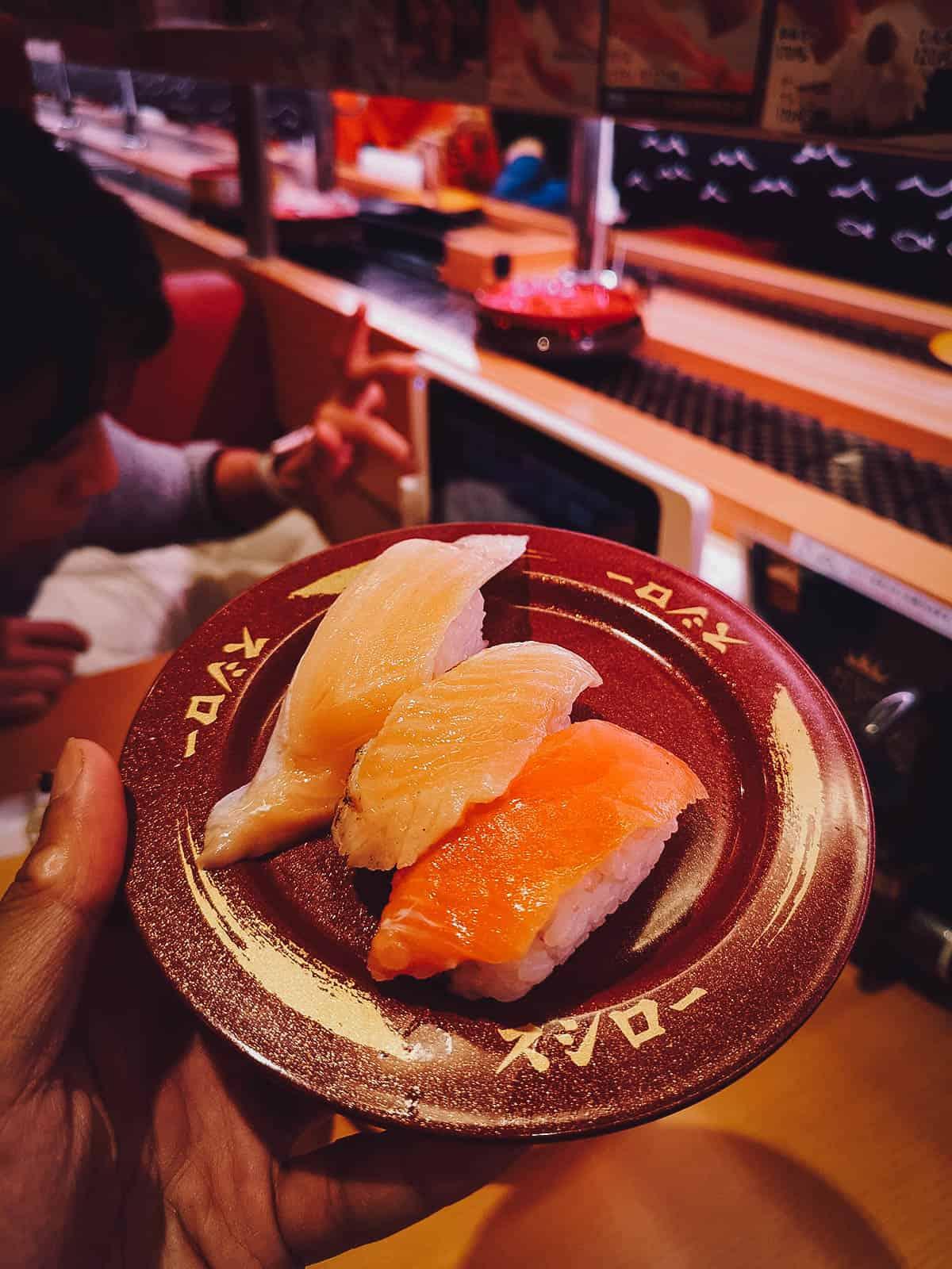 Sushi at Sushiro in Tokyo, Japan