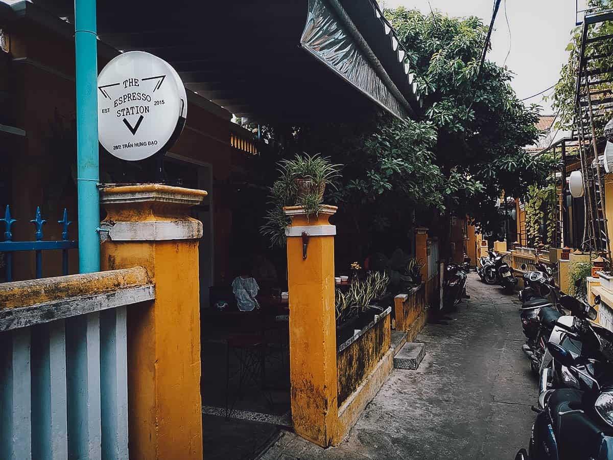 The Espresso Station exterior in Hoi An, Vietnam