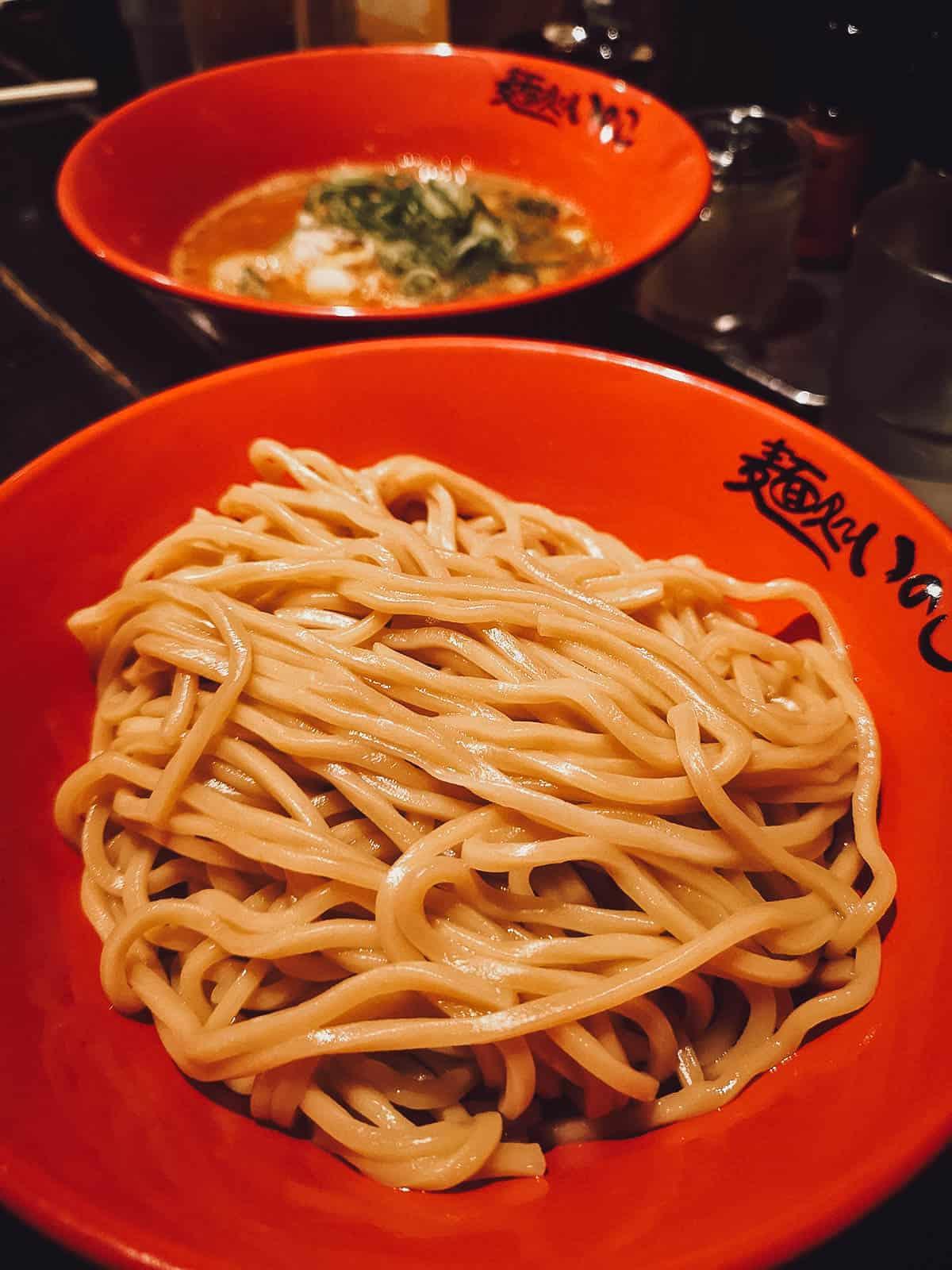 Ebi miso tsukemen at 麺処いのこ平和台店 in Tokyo, Japan