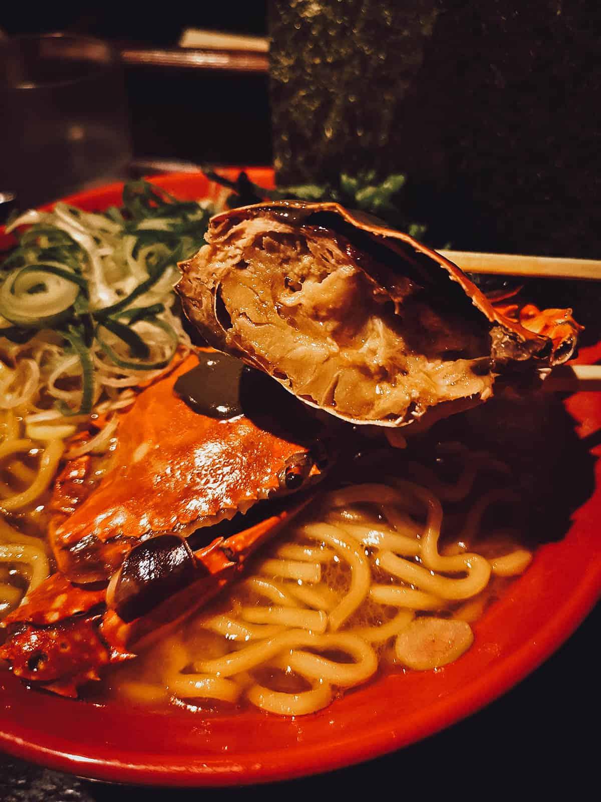 Crab miso ramen at 麺処いのこ平和台店 in Tokyo, Japan