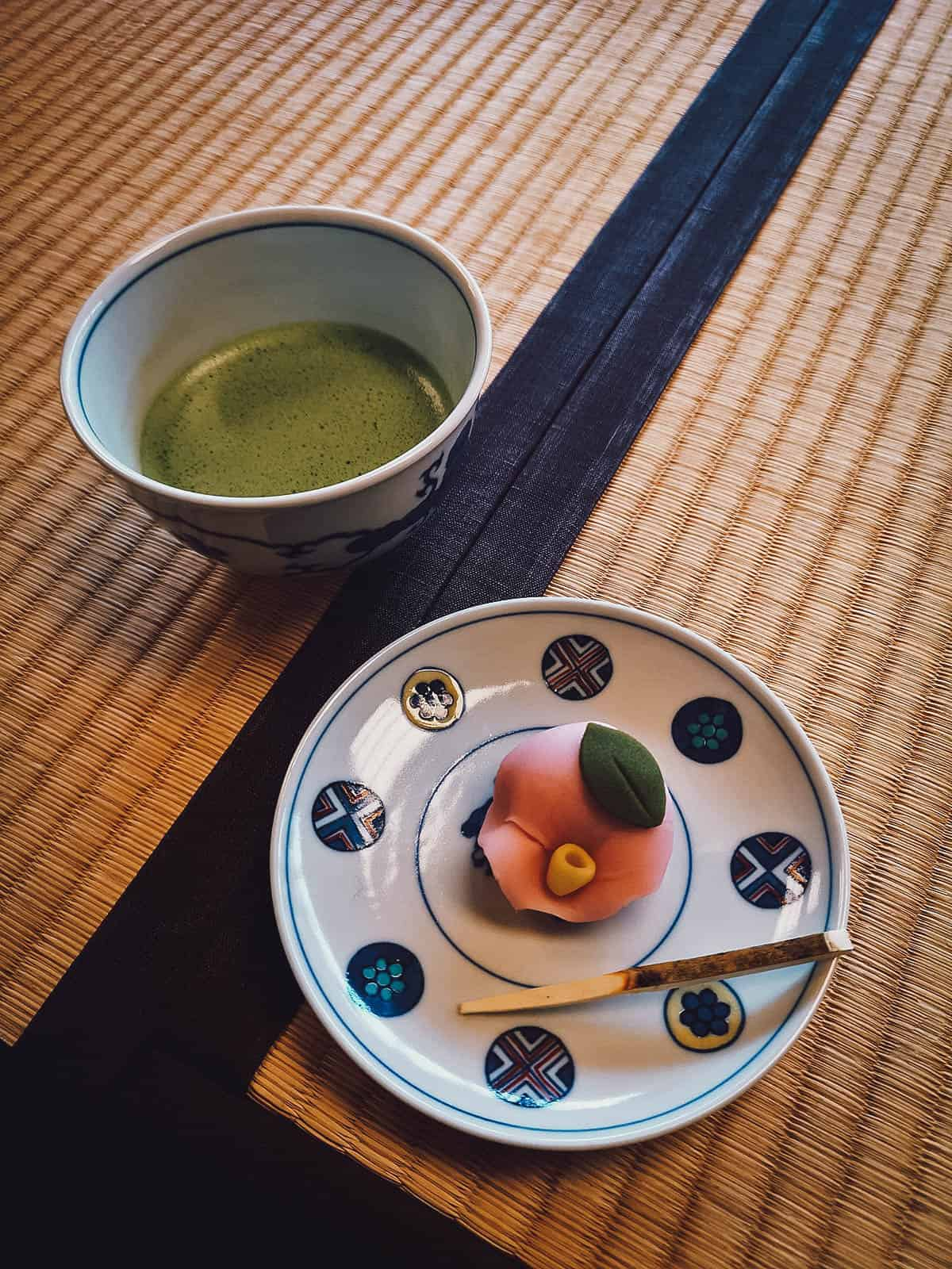 Matcha tea with wagashi