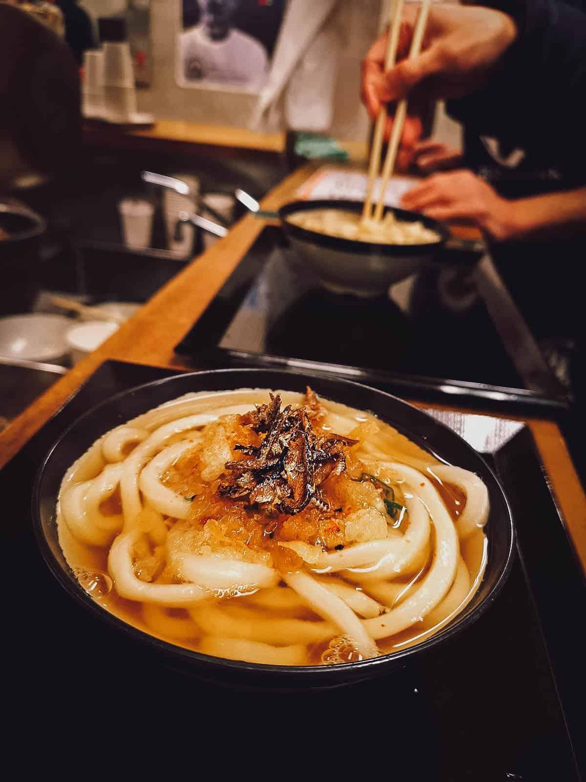 Bowls of udon at Ibuki