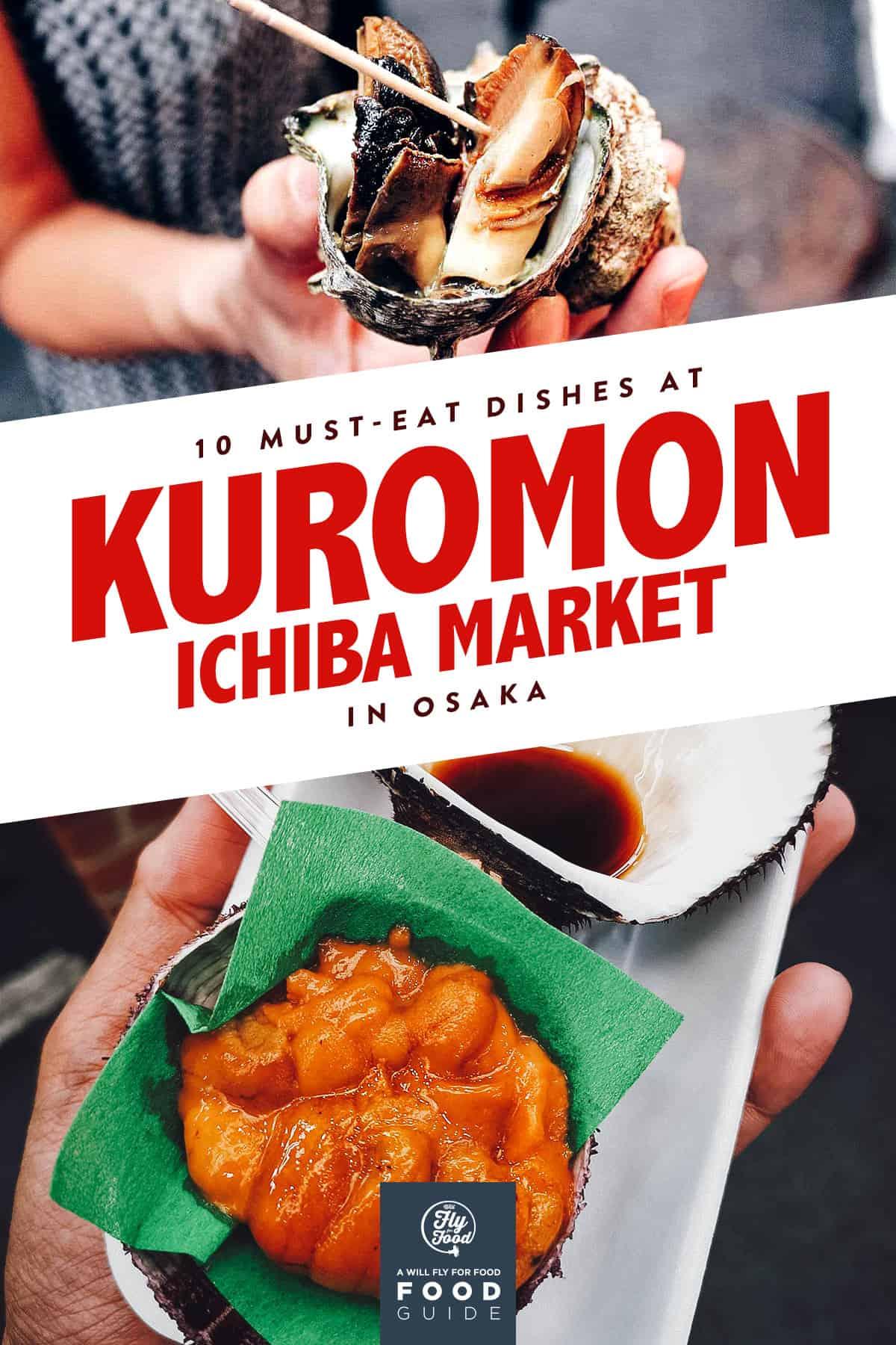 Giant snail and uni at Kuromon Ichiba Market