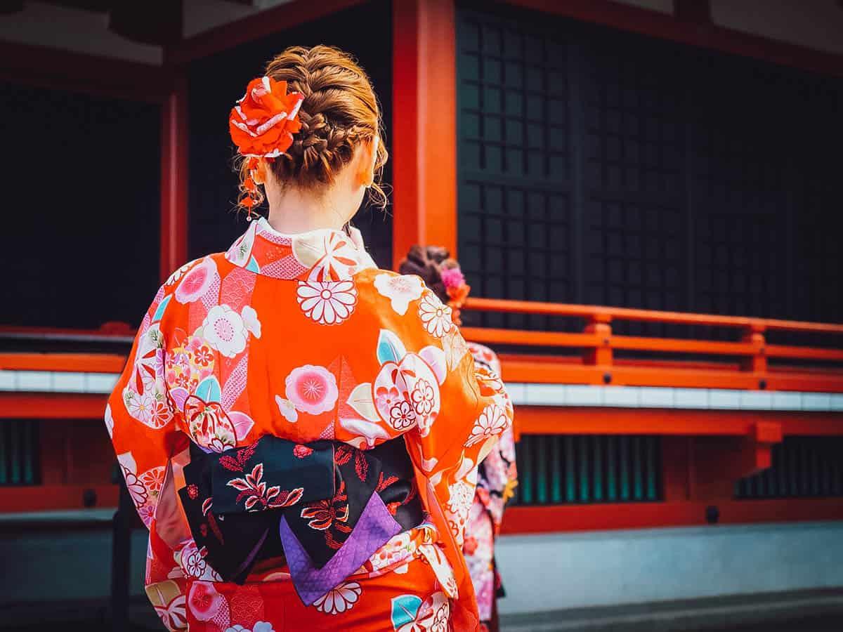 Tourist wearing kimono