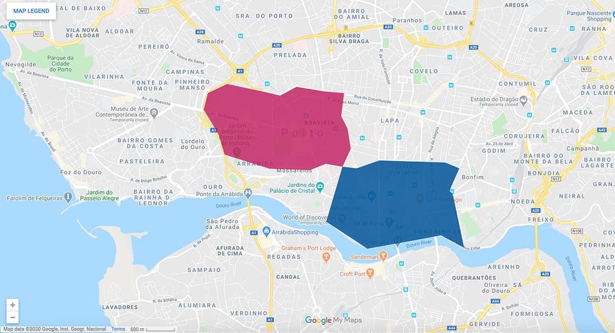 Porto area map