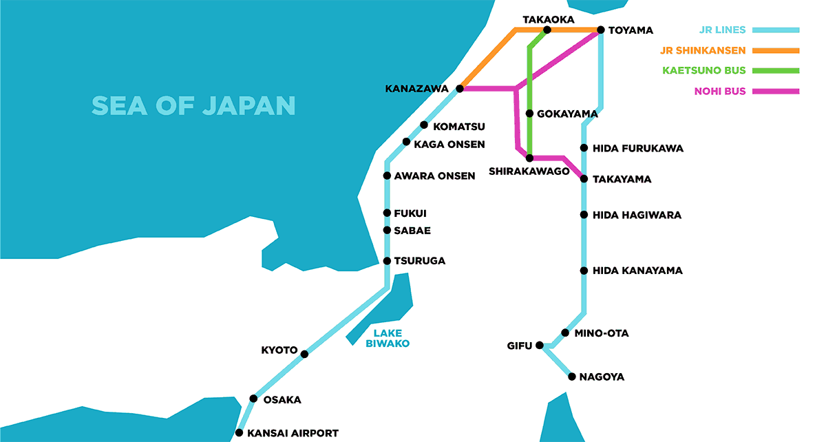 Takayama Hokuriku Area Tourist Pass Map