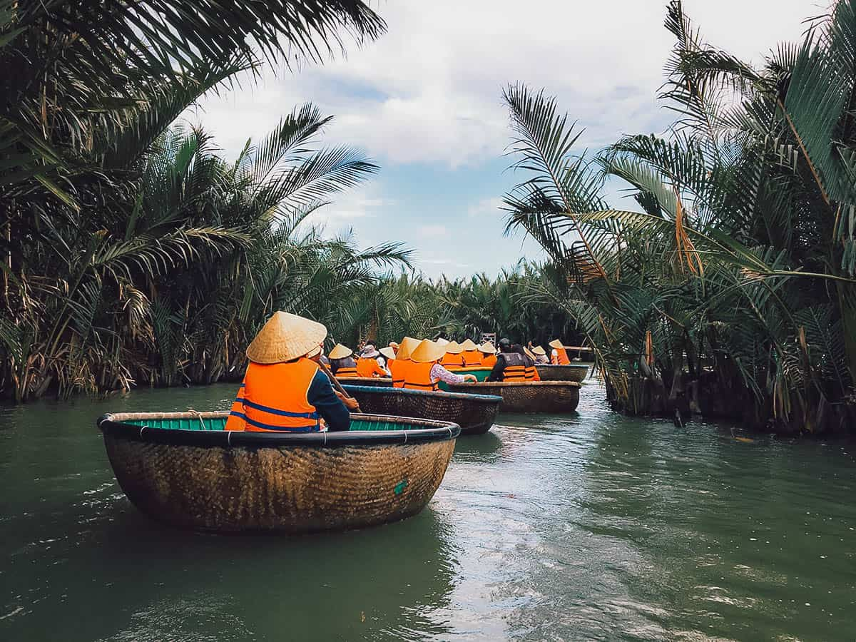 Tourists riding basket boats in Hoi An, Vietnam