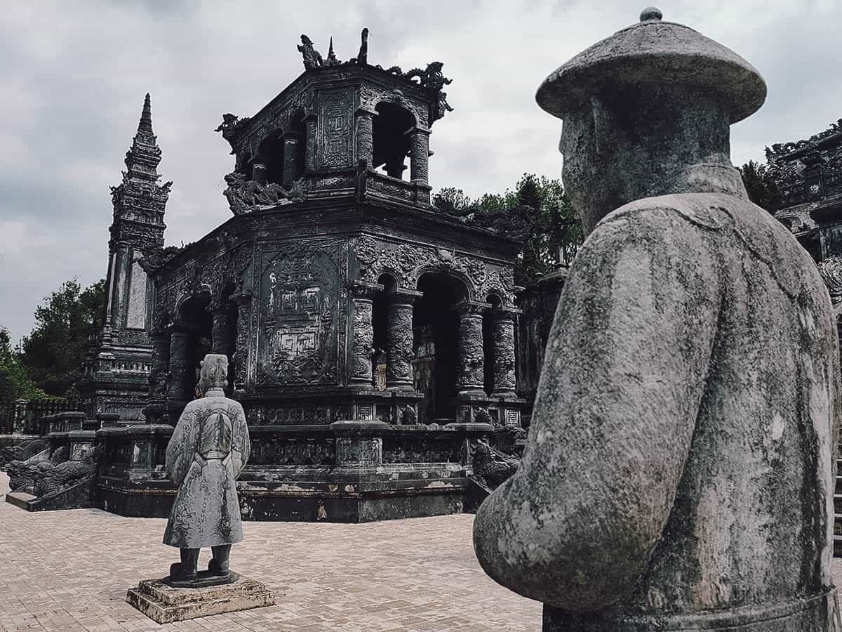 Stone statues at Khai Dinh's tomb