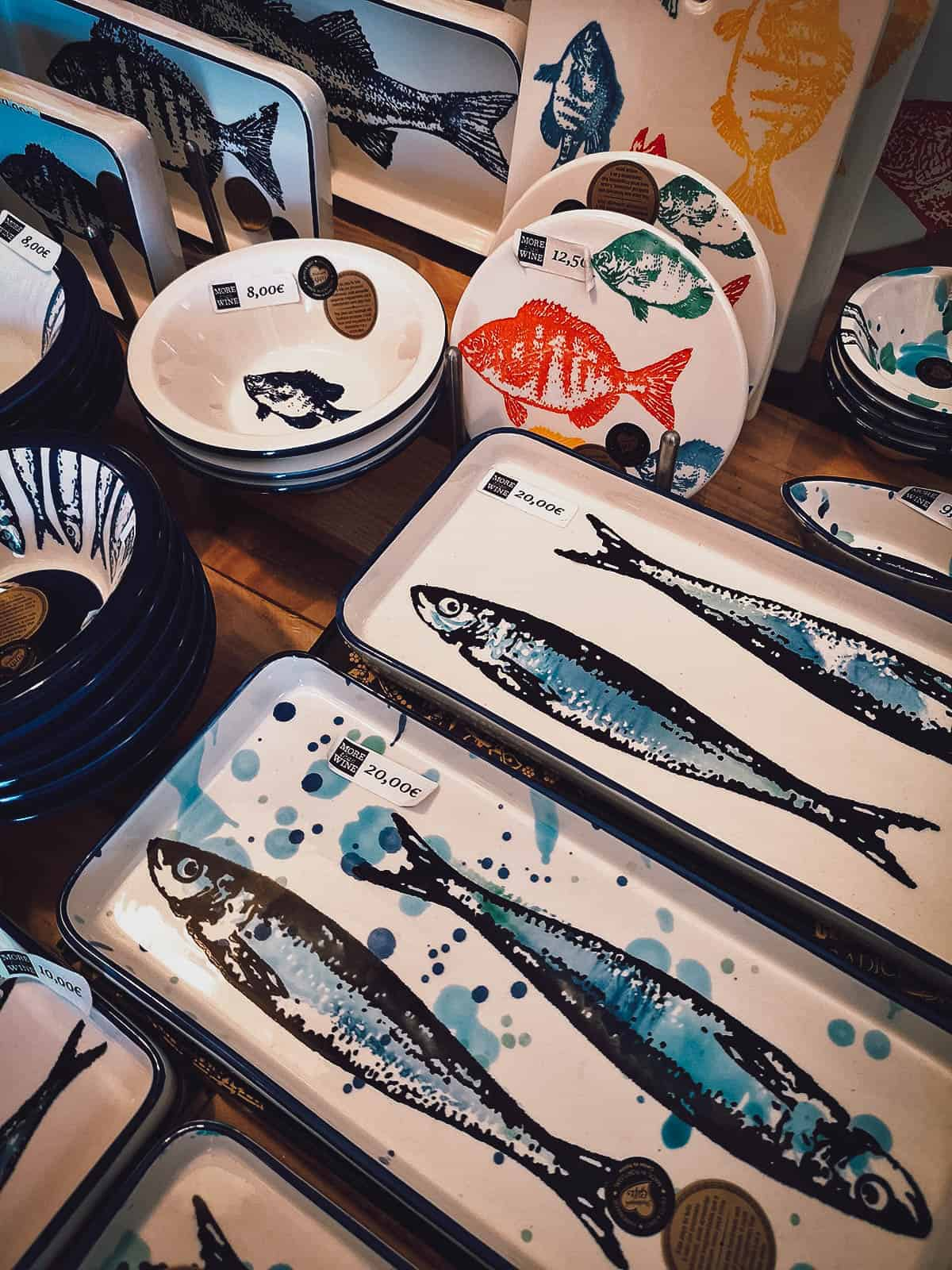 Plates, bowls, and trays with fish designs