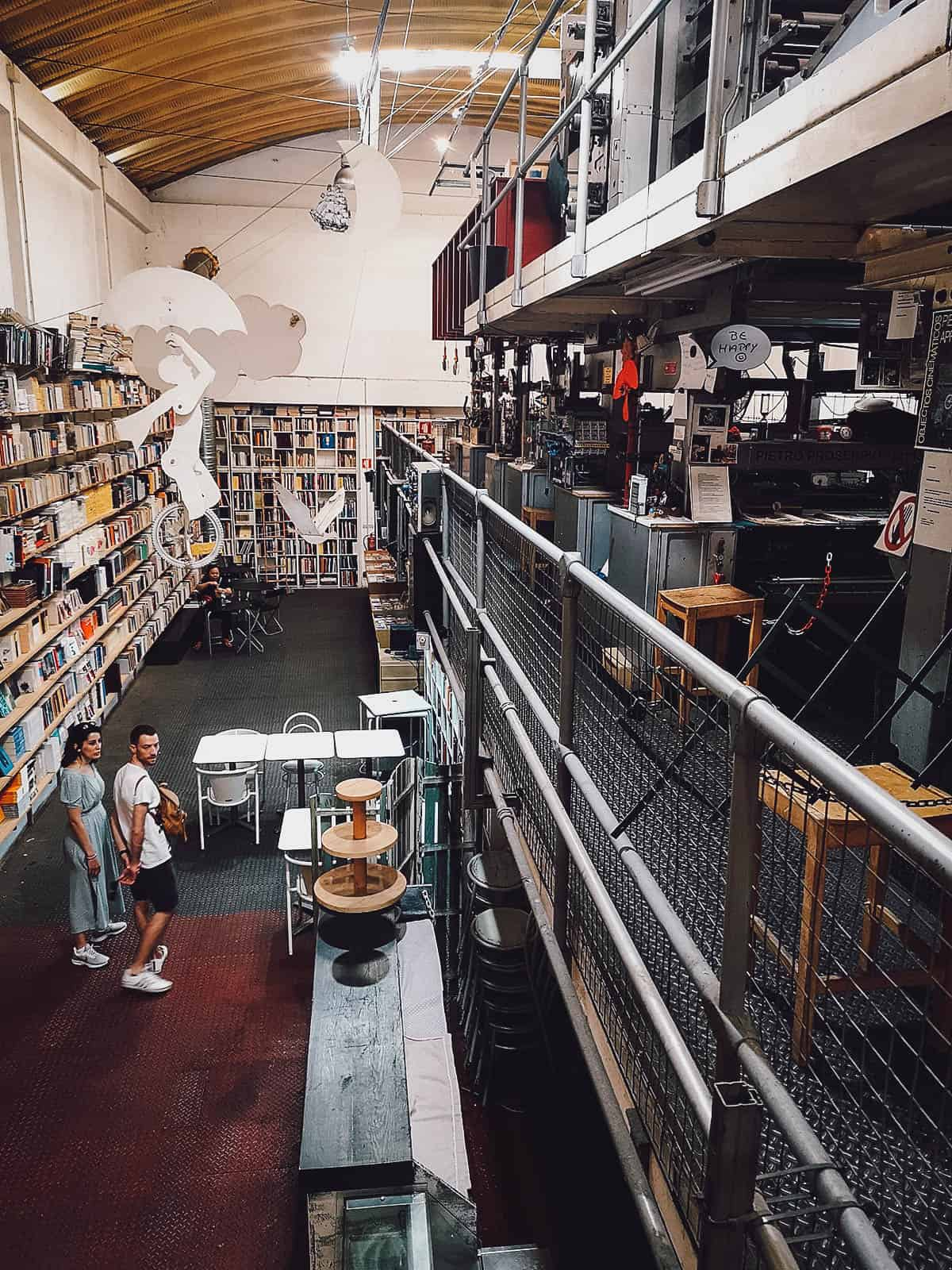Huge bookshop at an old printing press