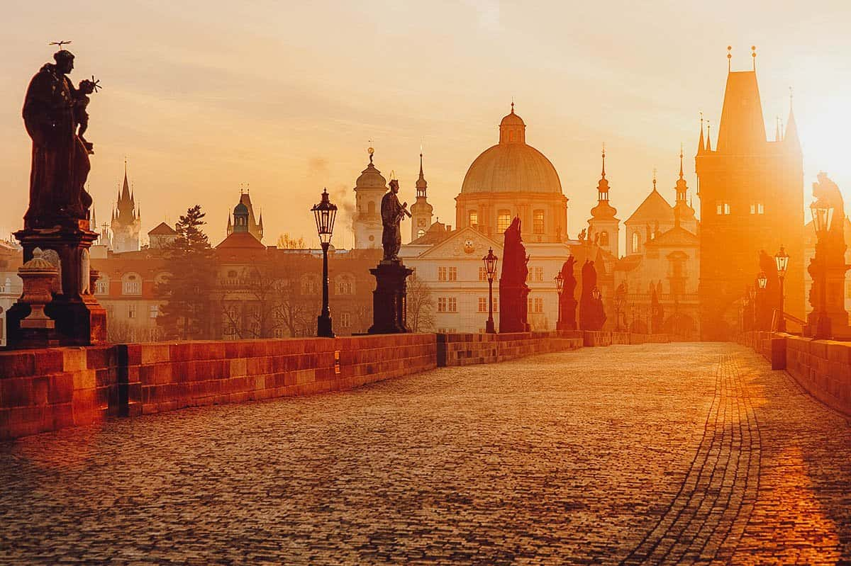 Charles Bridge at sunrise in Prague, Czechia