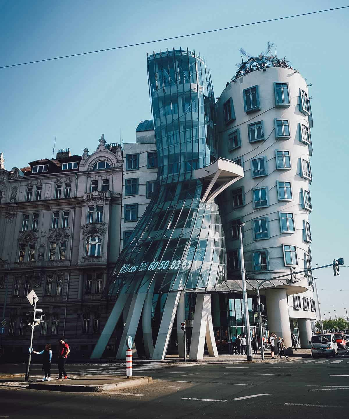 Exterior of the Dancing House in Prague, Czechia