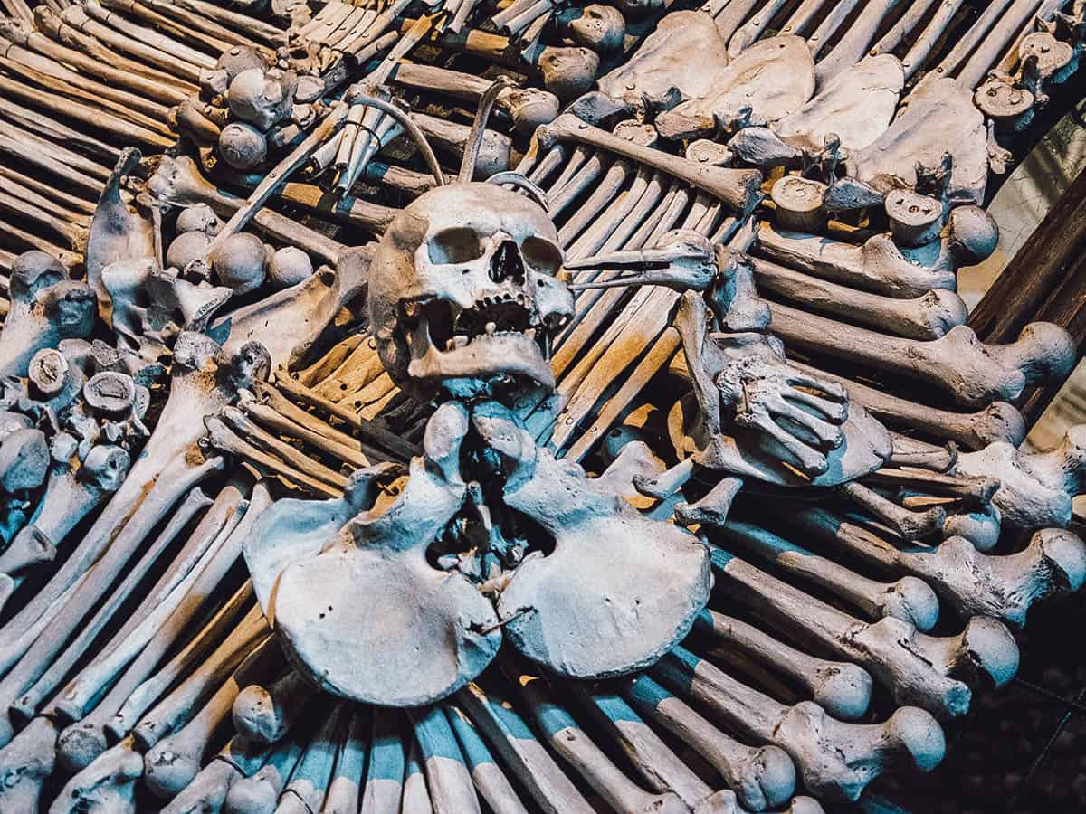 Human bones at Sedlec Ossuary in Czechia