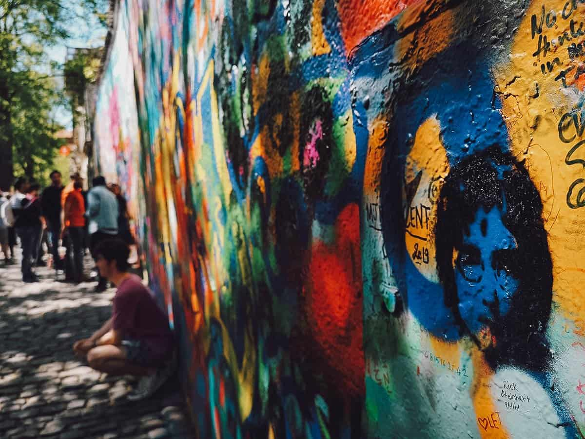 Close-up of the John Lennon Wall in Prague, Czechia