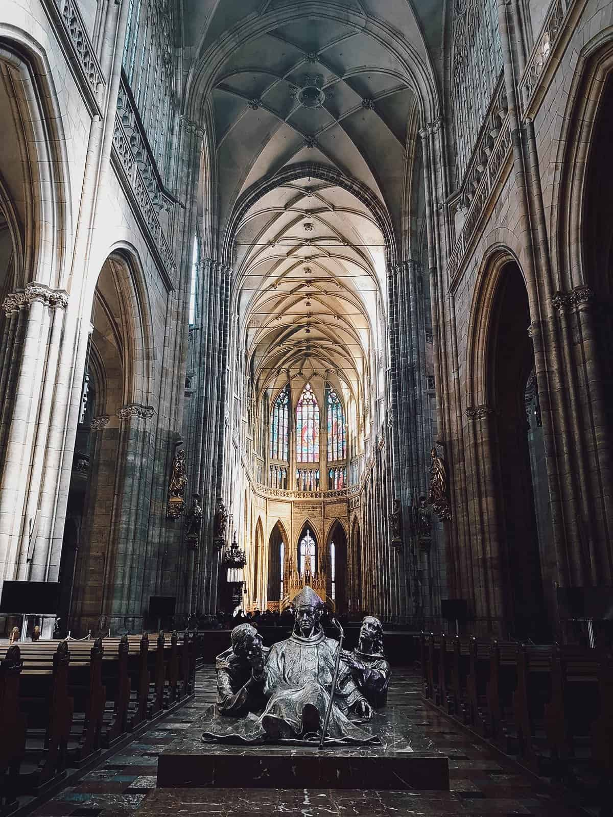Inside St. Vitus Cathedral in Prague, Czechia
