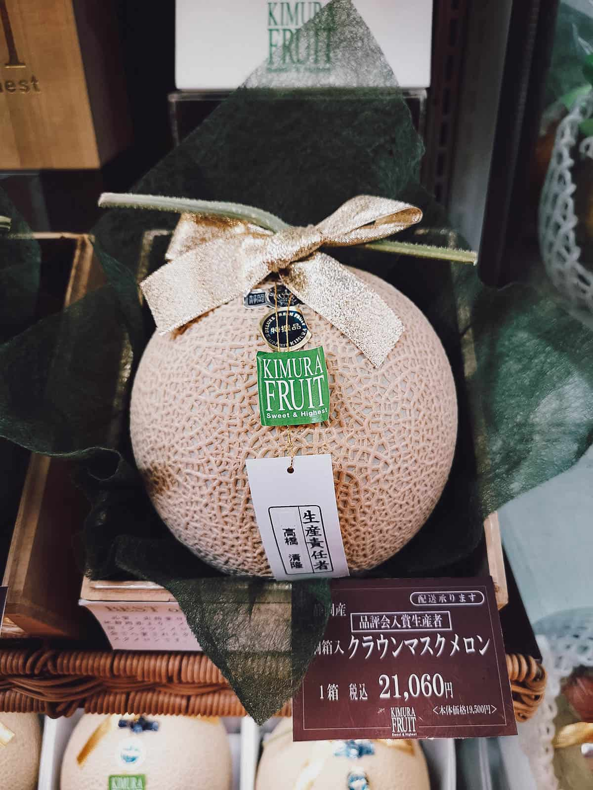 Expensive melon for sale at a depachika
