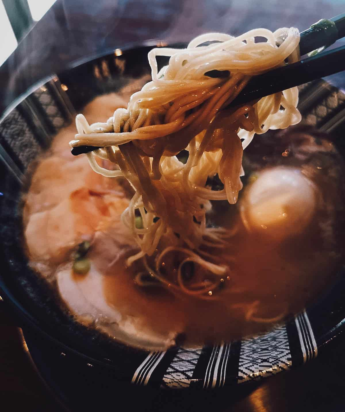 Bowl of hakata ramen in Fukuoka