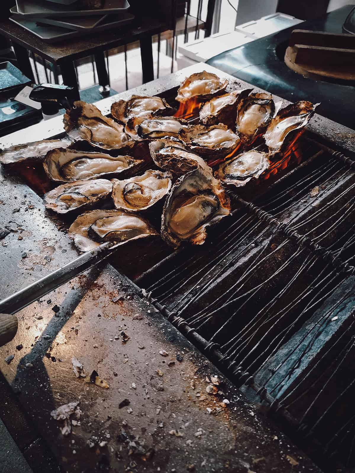 Hiroshima oysters grilling