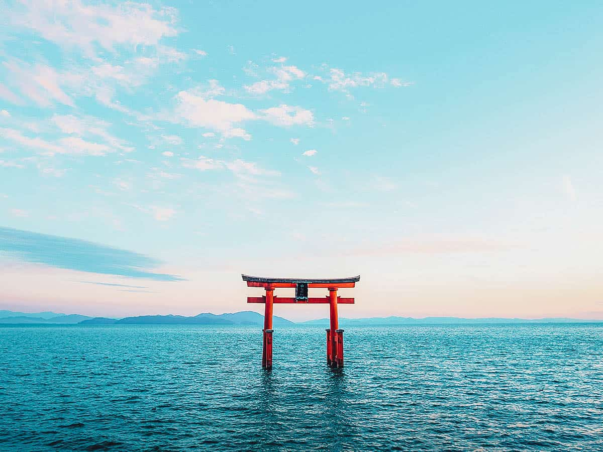 Torii gate on Lake Biwa