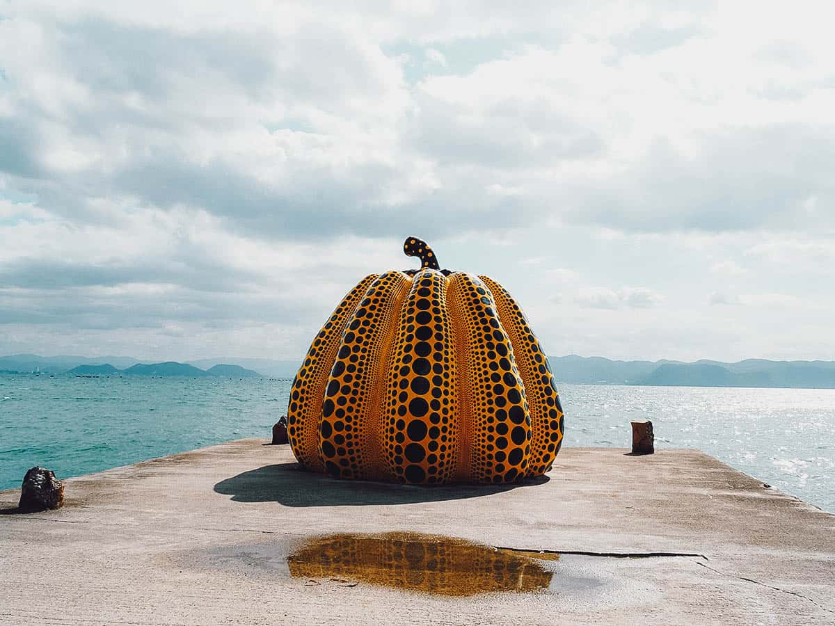 Giant pumpkin with polka dots on Naoshima Island