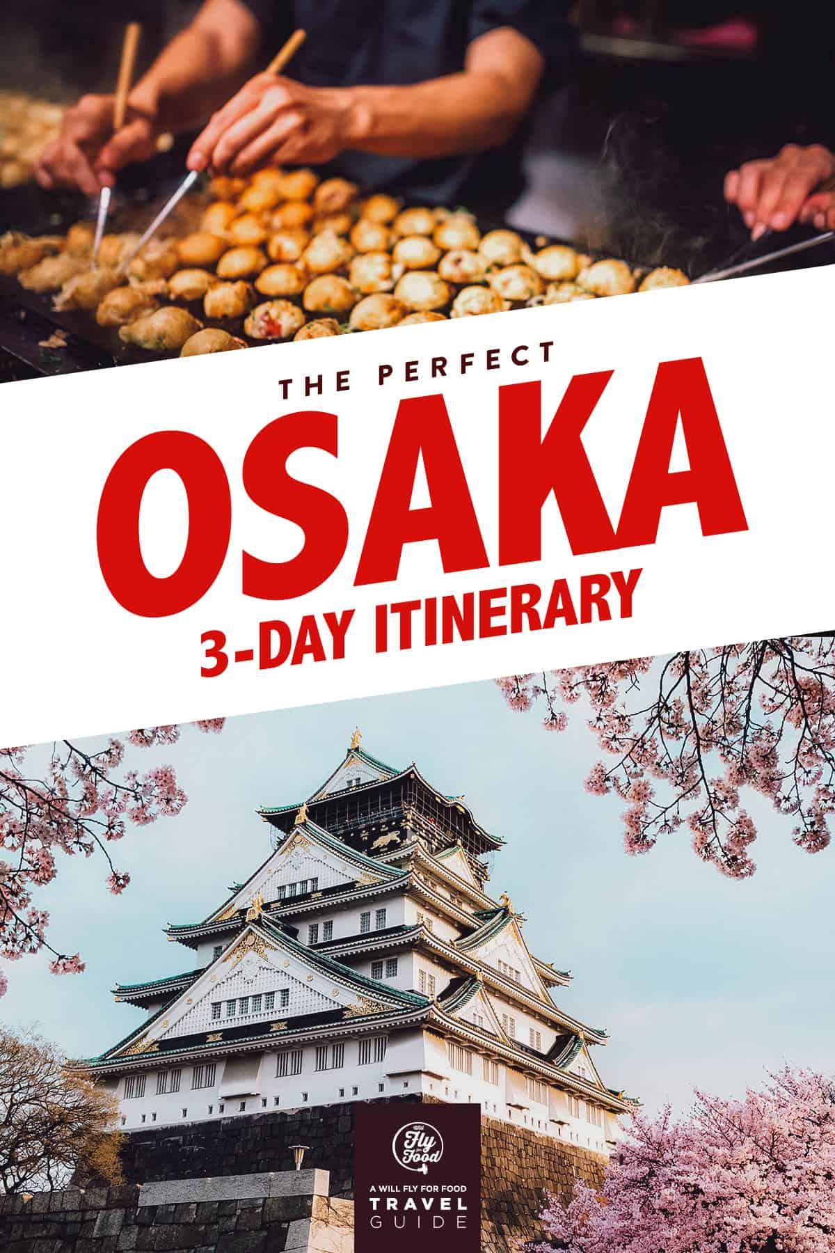 Osaka Castle and takoyaki balls