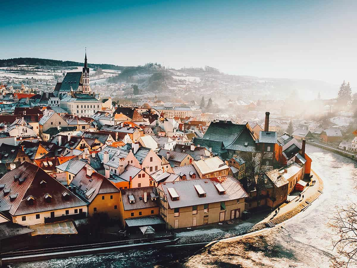 View of Cesky Krumlov in winter