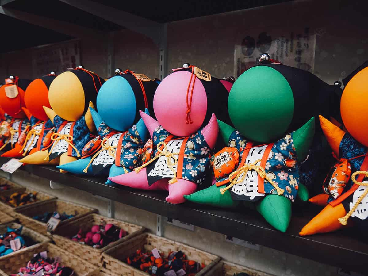 Different-colored sarubobo dolls