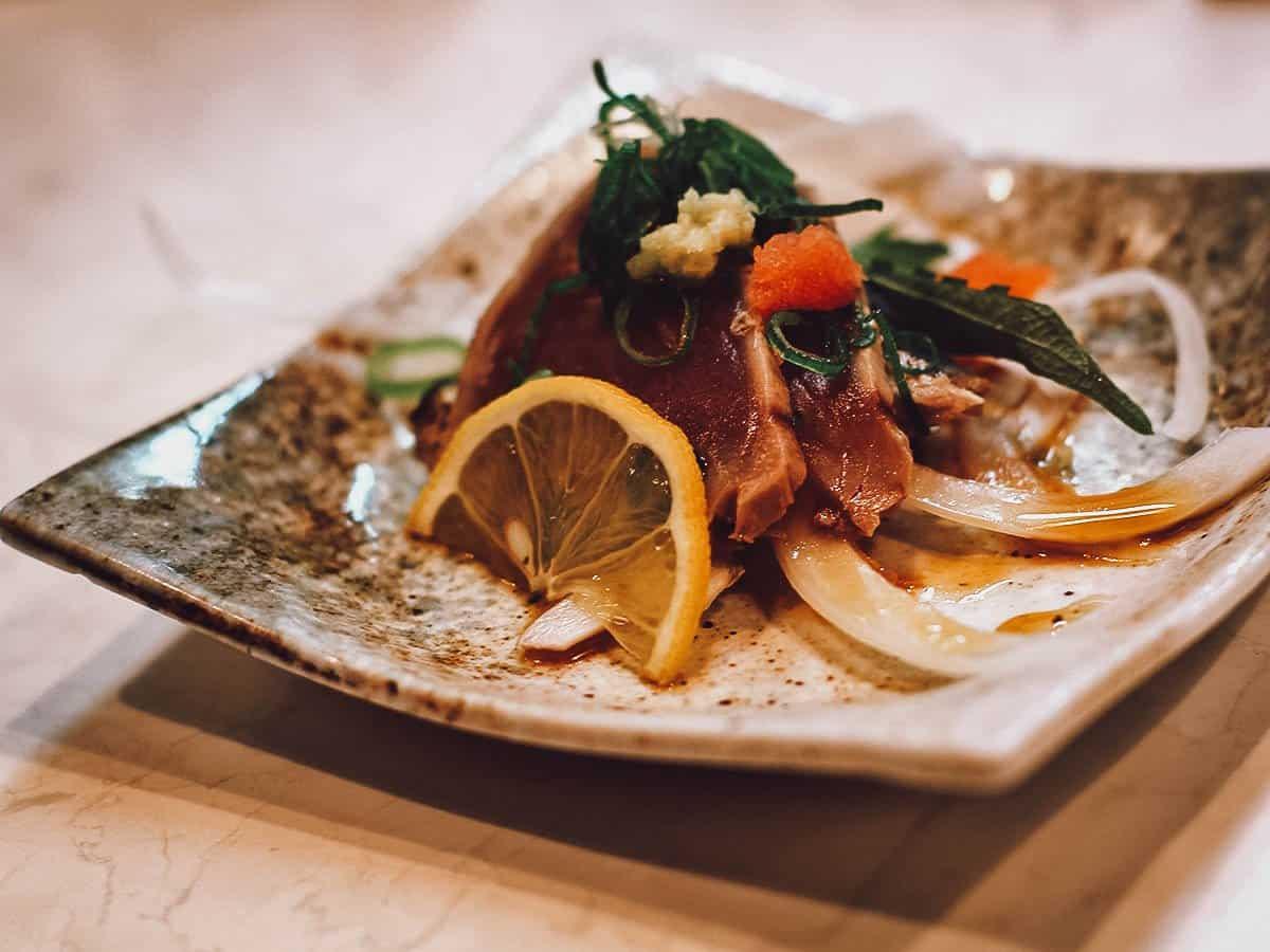 Plate of seared tuna apppetizer